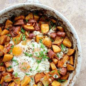 smoked paprika potato and egg bake crispy roasted potatoes and